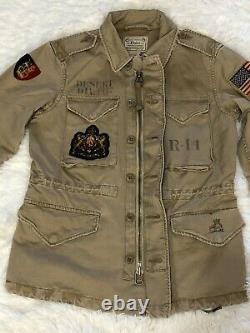 Polo Ralph Lauren Veste De Patch Pour Femmes Tan Weathered Taille Militaire Inspirée Xs