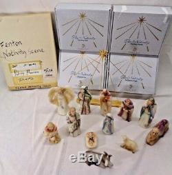 Rare Fenton Or Garniture Nativité Satin Verre 12 Pièces Avec Étoile
