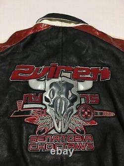 Rare Vtg 90s Avirex Senatobia Choctaws Bull Crâne Veste De Bombardier En Cuir Hommes 6xl