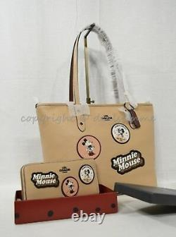 Set Coach X Disney Minnie Mouse Patch City Zip Tote + Portefeuille En Beechwood