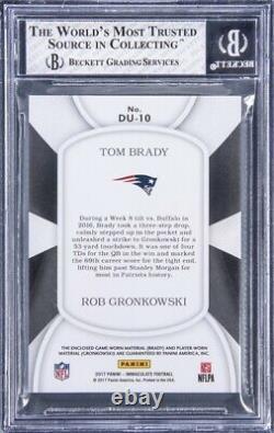 Un De L'un Tom Brady & Rob Gronkowski Panini Immaculé Avec 2 Patches Gu (bgs 8)