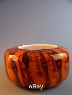 Un Studio D'art Whitefriars Vase Modèle S3 Orange Rare Scripté Piece 1970 Daté