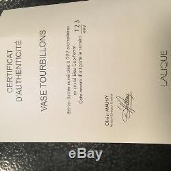 Vase Tourbillons Lalique, Édition Limitée, Signé N ° 123 Sur 999 Pièces, Nouveau Dans La Boîte