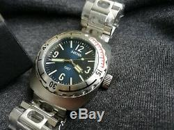 Vostok Amphibia 1967 Blue Diver Watch Rare 200m Édition Limitée 500 Pièces