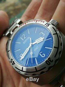 Vostok Amphibia 1967 Visage Bleu Diver Montre Rare 200m Edition Limitée De 500 Pièces