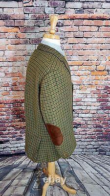 Vtg 1969 Jc Wells Ltd Londres 46s Houndstooth Tweed Elbow Patch Sport Coat Jacket