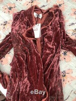 Zara Limited Edition Velvet Veste Kimono Grand Designs Bnwt Sort Style Boho